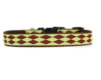 5/8 or 3/4 Inch Wide Dog Collar with Adjustable Buckle or Martingale in Harlequin Lime