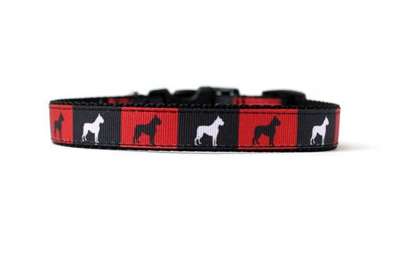 5/8 or 3/4 Inch Wide Dog Collar with Adjustable Buckle or Martingale in Boxers in Boxes an Exclusive Design