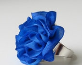 Sapphire Blue Ruffled Silk Ring