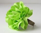Neon Green Ring ruffled silk ribbon