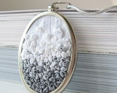 Gray Ombre Necklace silk ribbon embroidery