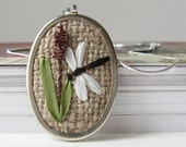 Dragonfly Necklace rustic silk ribbon embroidery by bstudio on Etsy