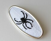 Black spider brooch, embroidered jewelry, arachnid jewelry, oval brooch, black and white pin, insect brooch, spider pin, Goth jewelry