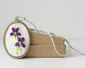 Purple Violets Necklace spring flowers embroidered silk ribbon