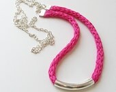 Fuchsia necklace, boho silk necklace, knitted silk jewelry, long necklace, fibre art necklace, hot pink necklace, bright pink necklace