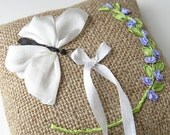 Ring bearer pillow, white butterfly ring pillow, rustic wedding pillow, embroidered butterfly ring pillow, silk ribbon embroidery