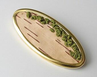 Birchbark Brooch, Embroidered jewelry, Woodland brooch, Oval brooch, Rustic pin