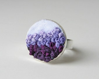Purple ombre ring with adjustable band, embroidered jewelry, purple and white ring
