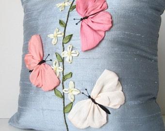 Butterflies pillow cover, Silk pillow cover, Silk ribbon embroidery, Silk cushion cover, Embroidered butterflies pillow cover