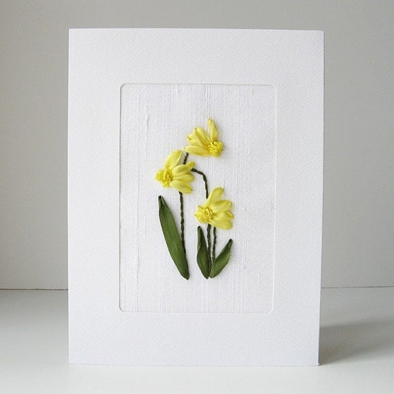 Daffodils card in silk ribbon embroidery by bstudio on etsy