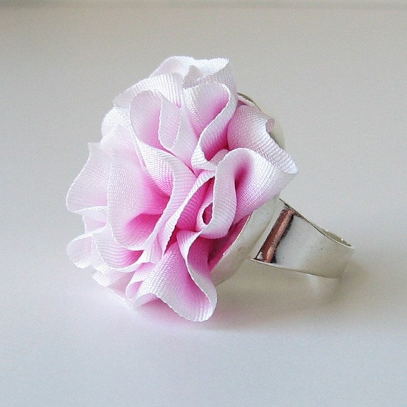 Pink and White Ruffled Silk Ring