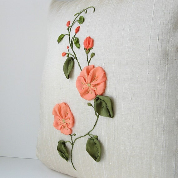Peach Flowers Pillow Cover  silk ribbon embroidery