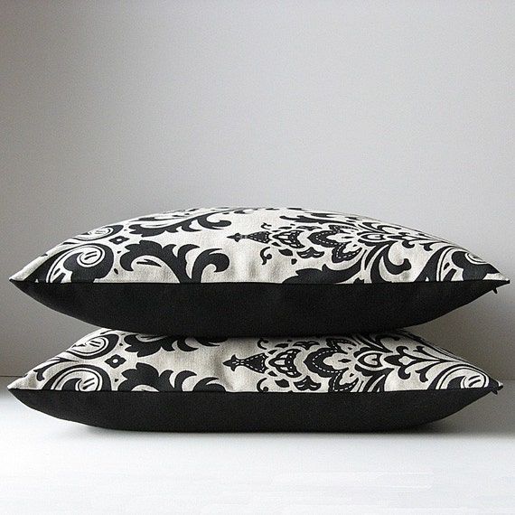 Pillow Covers Black and Tan Damask. patterned cushion covers. 16x16. Last Pair