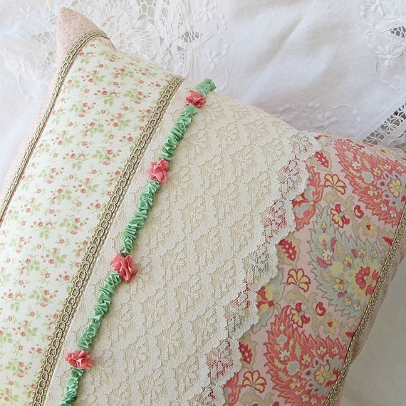 Cottage chic pillow cover ribbon embroidery vintage lace x