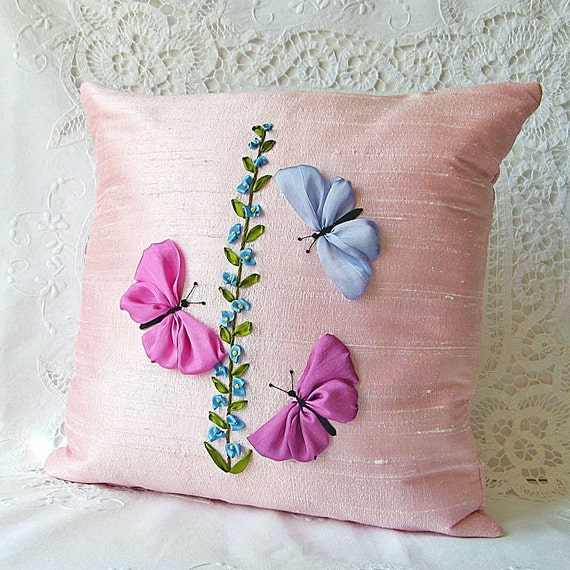 Butterflies Pillow Pink Silk Ribbon Embroidery 12 X 12