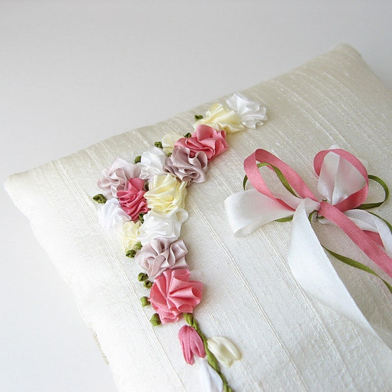 Floral ring pillow, silk ribbon embroidery, silk ring bearer's pillow, hand embroidered wedding ring pillow