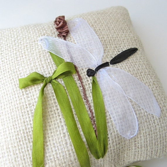 Ring Pillow with Dragonfly.  rustic. natural country wedding. ribbon embroidery