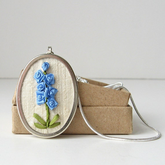 Blue Larkspur Necklace embroidered silk ribbon