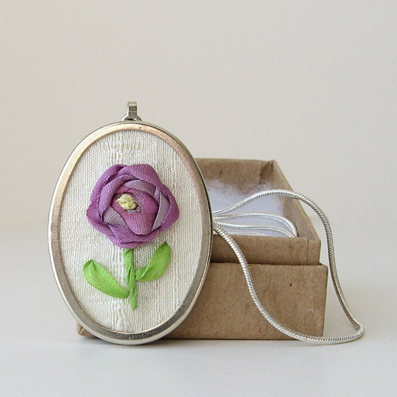 Purple Rose Necklace Pendant embroidered silk ribbon