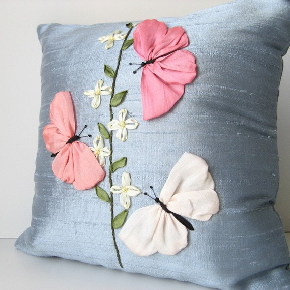 Butterflies pillow cover silk ribbon