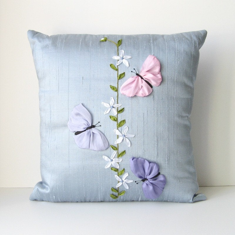 Butterflies pillow cover blue silk ribbon embroidery