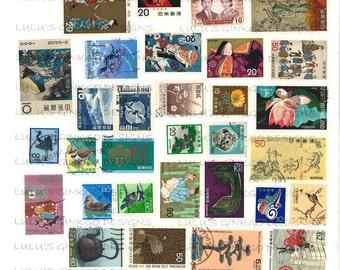 Digital Collage Sheet-International Postage Stamps-Japanese-1
