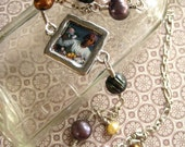 With Peonies. Bazille painting under resin with freshwater pearls and sterling