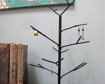 Ebony Tree. Black handwelded recycled steel tree for jewelry, holiday ornaments, or decoration. Made to order
