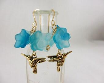 Hummingbird. Czech glass flower and hummingbird charm earrings