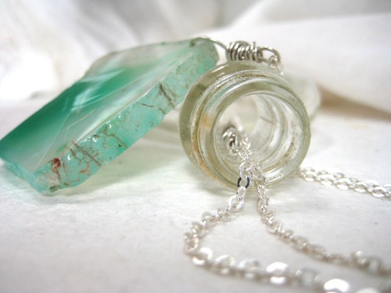 The Sea. Seafoam green natural cut agate and sterling necklace
