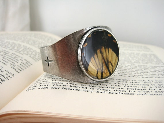 Swallowtail Series. Real butterfly wing in adjustable cuff bracelet