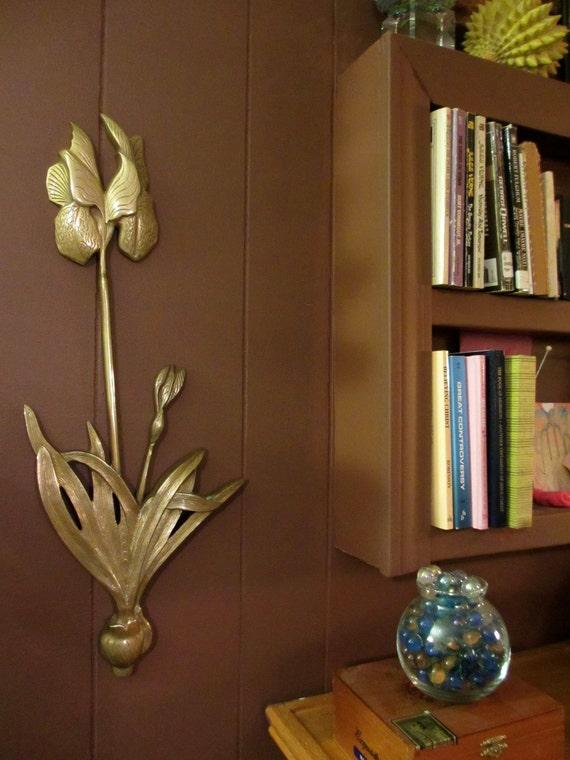 Vintage Brass Iris Wall Hanging