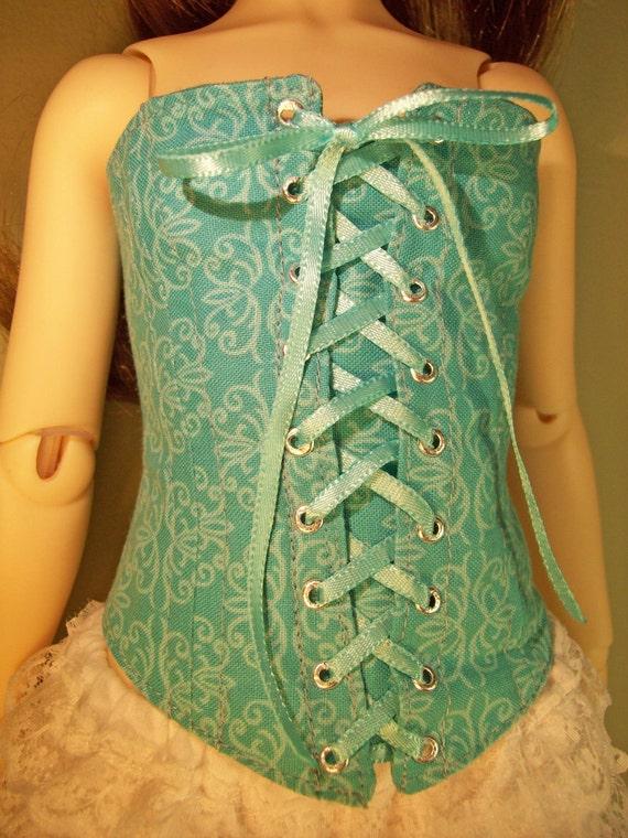 Turquoise Floral CORSET for Volks Super DOLLFIE sd13 delf bjd