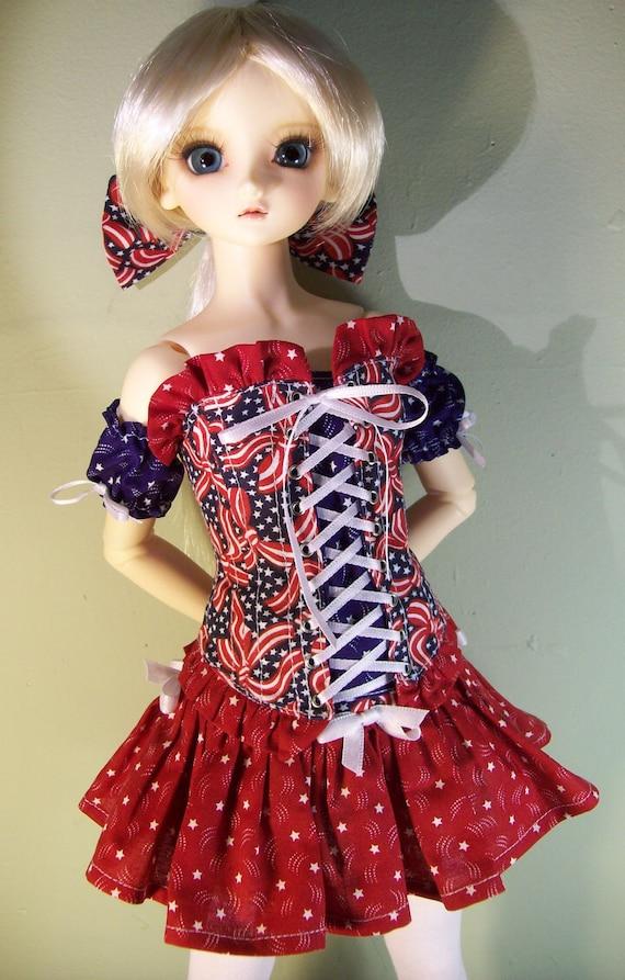 OOAK Patriotic Corset Skirt set for Volks Super DOLLFIE sd13 delf bjd Delf 8 pieces