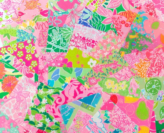 CLOSEOUT SALE - Last Set - 28 100% Cotton Lilly Pulitzer Fabric Squares - 5 x 5 inch Squares - Buy One get One FREE
