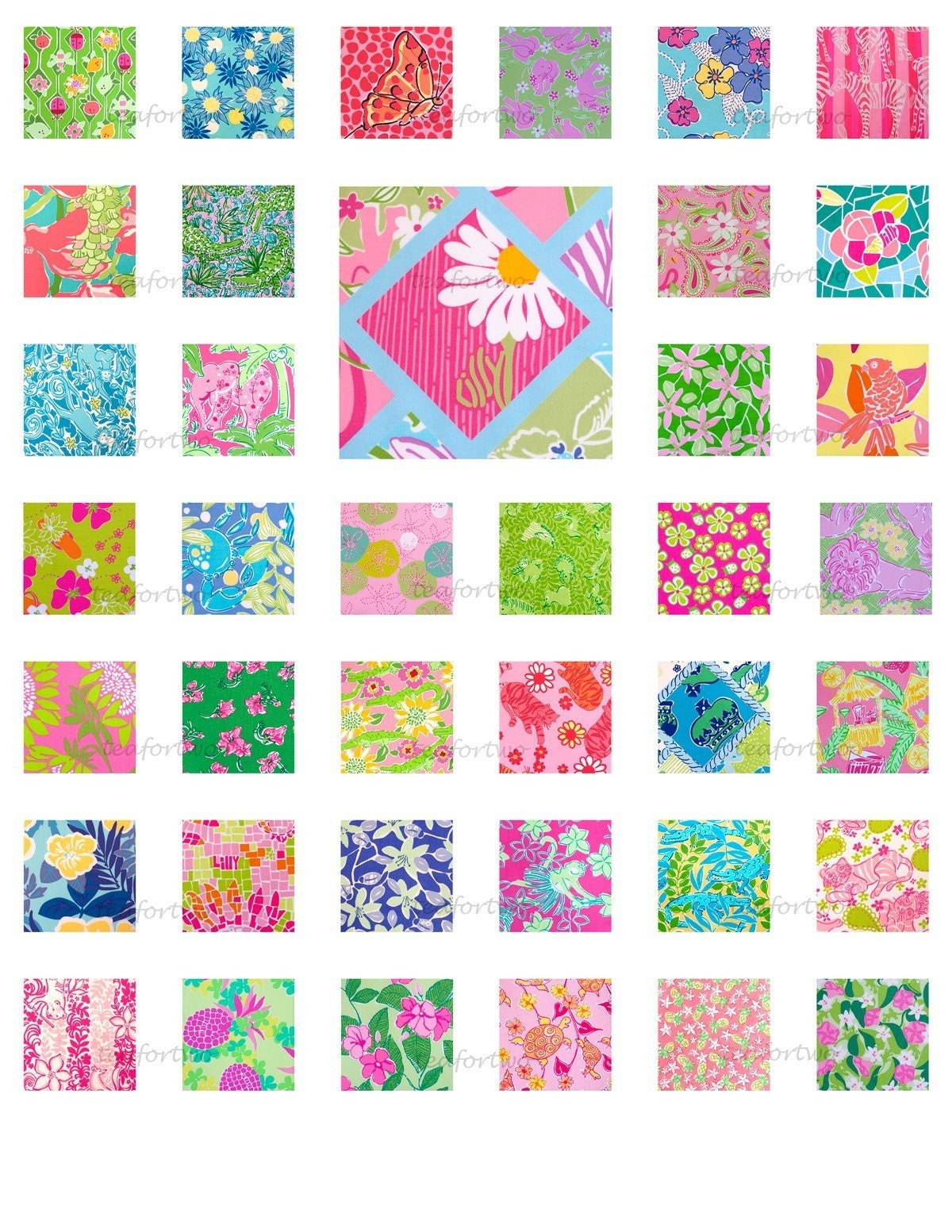 Lilly pulitzer digital tile prints by teafortwo on etsy