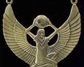 4 Egyptian Goddess Brass Pendants -  Beautiful Deeply Rendered Stampings.