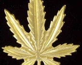 4- Magickal Medical Cannabis Leaf Charms - Brass for Crafts.. Ornaments.. Costumes.. Gifts