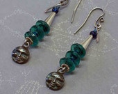 Dark Moon Mysteries..ON SALE..Earrings call to the Dark Moon Goddess - Teal and Rustic Silver Handmade, Free Shipping
