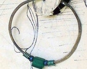 Darkened Rustic Sterling Hoops with a touch of Teal - No Shipping Charge