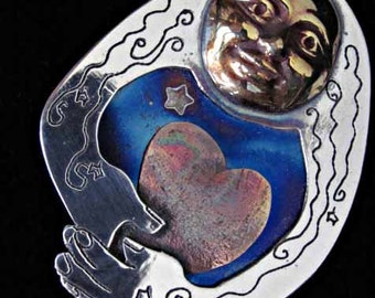 Grand Mother Moon Brooch - etched Sterling - with titanium Indigo sky. Designed, made, signed and dated by L. Beers Aydlott
