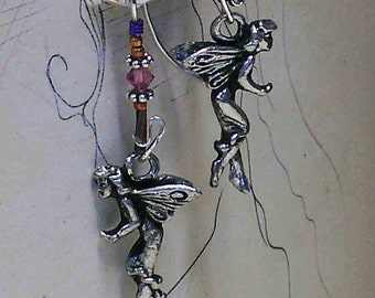 Faerie Earrings ... They Crept in so Silently... handmade pewter, sterling, with crystal beads... Simply Charming