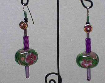 Rose Garden Art Glass with Anodized Aluminum ..One of a Kind earrings. NO Charge for shipping.