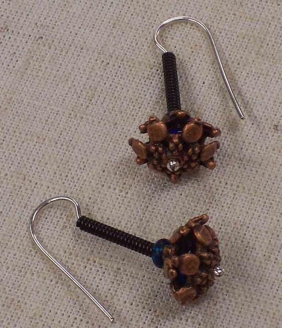 Faerie Lantern ...  Earrings  ... Handmade Sterling and Copper