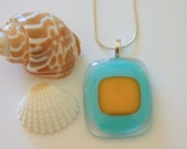 Sunshine and Surf Fused Glass Pendant..RESERVED LISTING