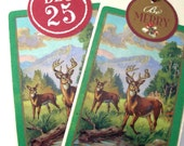 Set of two Woodland buck deer gift tags green and red paper gift tags
