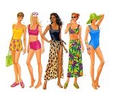90s Butterick 5551 swimsuit and cover up sewing pattern Bust 34 to 38