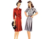 Dress sewing pattern WW 2 era Simplicity 4614 Bust 34