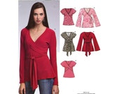 Womens wrap blouse top knit sewing pattern New Look 6729 Uncut Size 6 to 16