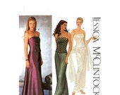 Jessica McClintock bustiers and skirt sewing pattern Simplicity 9484 Sz 4 to 10